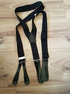 """BLACK BRACES WITH REAL LEATHER ENDS FOR BUTTONS 1.4"""" WIDE, 48"""" LONG UNBRANDED"""