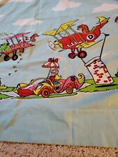 Vintage Rare '60s Hanna Barbera Dick Dastardly Mutley & Gang Twin Flat Sheet