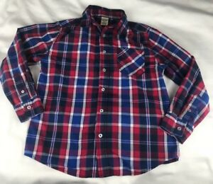 Boys' Faded Glory Long Sleeve Cotton Blend Woven Plaid Red Collared Shirt 10/12