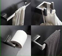 4PCS Stainless Steel Brushed Bathroom Accessory Set Paper Robe Holder Towel Bar