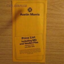 AUSTIN MORRIS Mini Allegro Vanden Plas Marina Princess MG MGB GT PRICE LIST 1976