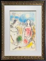 "Marc CHAGALL Color Lithograph LIMITED Ed. ""Le couple..."" Arches w/ Custom FRAME"