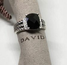David Yurman Sterling Silver Petite Black Onyx Wheaton Ring Size 7