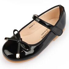 Black Shoes Girls Lady Ribbon Velcro Easy Wear Daily Elegant School Dress PK9012