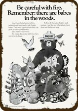 1973 SMOKEY THE BEAR & BABY ANIMALS & AD COUNCIL Vintage Look REPLICA METAL SIGN