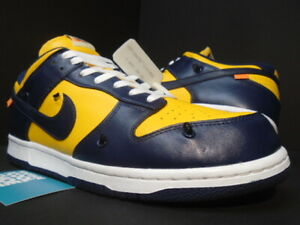 NIKE SB DUNK LOW LEATHER OW OFF-WHITE GOLD NAVY BLUE MICHIGAN CT0856-700 11.5