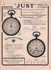 Réclame Pub Montre Just Chronographe Besançon Paris 1911 ILLUSTRATION