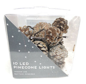 10 LED Pine cone Lights Battery Powered Fairy Christmas Xmas Party Decor Pinecon