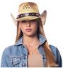Cowboy Hat Straw Vintage Blue Studded Leather Western Natural Vented Concert