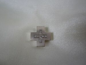 Kreuz Anhänger aus Weißgold 750 mit Diamanten