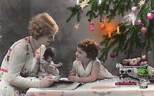BJ515 Carte Photo vintage card RPPC enfant femme noél poupée doll jouet livre