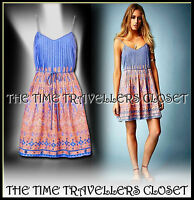 Kate Moss Topshop Blue Pink Embroidered Mirrored Paisley Sundress UK 6 8 10 BNWT