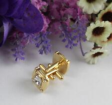 1 Set rhinestone flower gold plate cufflinks #22257 Free Shipping