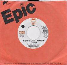 ARGENT  Thunder And Lightning  rare promo 45 from 1974  THE ZOMBIES