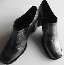 womens BOOTS JEFFREY CAMPBELL metallic leather SILVER EU 40 UK 6 CHUNKY HEEL