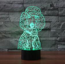3D Poodle Dog Night Light 7 Color Change LED Desk Lamp Touch Room Decor Gift