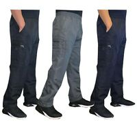 Mens Elasticated Fleece Lined Thermal Cargo Combat Work Bottoms Pants Trousers