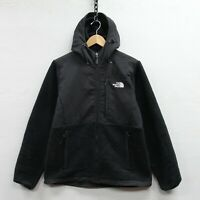 The North Face Hooded Denali Fleece Jacket Womens Size Medium Black Full Zip TNF