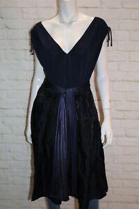 SACHA DRAKE Brand Women's Blue Tie Front V Neck Dress Size 14 #MAR