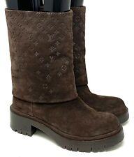 Authentic LOUIS VUITTON Monogram Short Boots Suede #36 US5.5 Brown Rank AB
