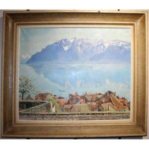 Vintage 1947 swiss Original Rare Lavaux Oil canvas Painting Signed CH. A. EGLI