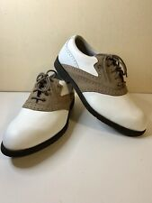 Footjoy Men's White And Tan Lite-Spike Golf Shoes 8m