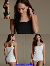 ex M & S WHITE BLACK Stretchy Strappy Cami Vest Top Size 8 10 12 14 16 18 20 24
