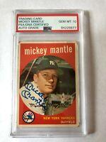 1959 Topps Mickey Mantle ** PSA 10 GEM MT ** Autograph HOF New York Yankees