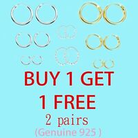 925 STERLING SILVER HOOP SLEEPER EARRINGS 8-50mm SMALL LARGE NOSE EAR SET RING