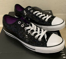 Converse All Star Women's 12 Men's 10 Black Sequin Low Top Sneakers Shoes NEW