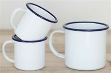 Enamel Mug Cup 6 8 9 10 12 cm White Blue Camping Home Picnic Tea Coffee Pannikin