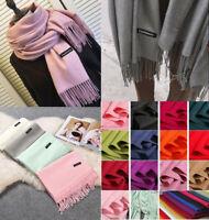 Women Pashmina Lady Winter Warm Scarf Cashmere Long Wrap Shawl Plaid Knit Scarf