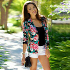 Womens Long Sleeve Blazer Suit Casual Floral Jacket Slim Short Coat Outwear Tops
