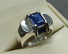 Emerald Cut Natural Ceylon Blue Sapphire Sterling Silver 925 Handmade Mens Ring