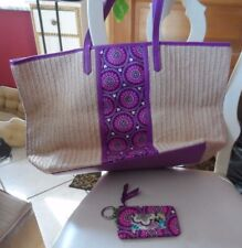Disney Vera Bradley Plums Up Straw Tote Bag and window ID NWT