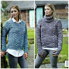 KNITTING PATTERN Ladies Long Sleeve Round/Cowl Cable Jumpers Tonal Chunky 4881