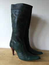 Zara Cuero verde señoras detalle con tachuelas a mitad de la pantorrilla botas con UK6