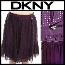 $395 DKNY Purple Silk Chiffon Sequin Embellish Knee-Length A-Line Skirt ~6 M3020