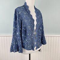 SIZE 14W Alex Evenings Blue Sequin Lace Open Jacket Bolero Top Shirt Plus 1X NWT