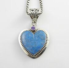 Unique Sterling Silver Handmade Denim Lapis Amethyst Heart Pendant