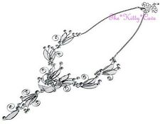 Delicate Silver Lacey Mesh Floral Flower Wirework Necklace w/ Swarovski Crystals