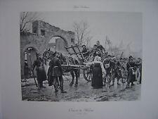 Grande Estampe originale  Paul Grolleron  Convoi de blessés à JANVILLE en 1870