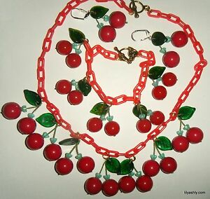 Vintage & New Artist Made Cherry Necklace Bracelet Earrings RED Plastic Chain