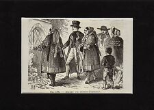 Antique matted print farmers Farther Pomerania  1885 Hinterpommern holzstich