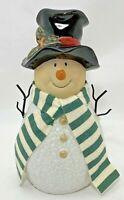 "Snowman Christmas Ceramic Modern Hat Scarf Figurine 7.75""H x 3.75""W Home Decor"