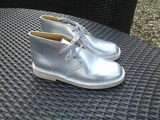 Metallic Silver Clarks Originals Desert Boots UK 2