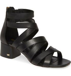 MICHAEL Michael Kors Women's Dixon Strappy Dress Sandal Size 9M Black Leather
