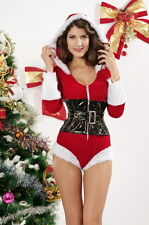 Women's Christmas Santa Doll Romper Fancy Dress Costume with Hood & Belt