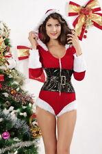 Women's Christmas Santa Doll Romper Fancy Dress Costume with Hood & Belt