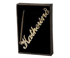 """COLLANA con nome """"Katherine"""" - 18CT Placcato Oro-realizzati con elementi swarovski"""